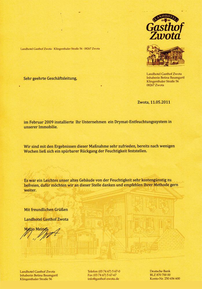 Gasthof Zwota erfolgreich trocken gelegt - Drymat Erfahrungen